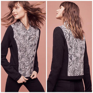 ANTHROPOLOGIE Knitted Knotted JACKET Floral Wool
